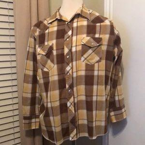 Wrangler Western Shirt Brown Plaid pearl snaps XXL